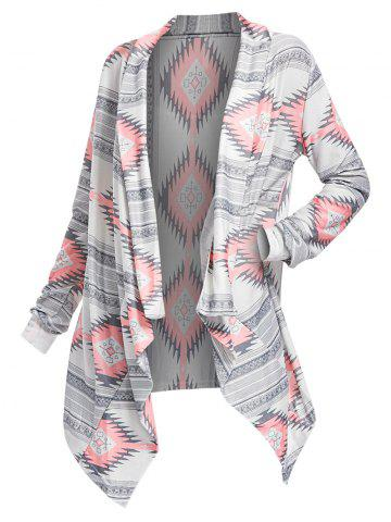 3faae00d7487 Geometric Printed Long Sleeve Asymmetric Cardigan