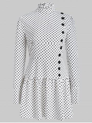 Polka Dot Drop Waist Ruffle Hem Mini Dress