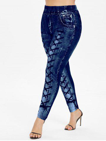 Plus Size High Waisted 3D Printed Leggings