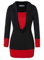 Plus Size Two Tone Buttoned T-shirt -