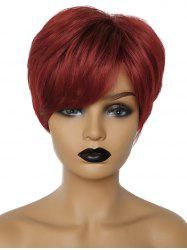 Short Side Fringe Straight Party Human Hair Wig -
