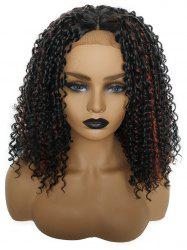 Long Center Parting Highlighted Kinky Curly Synthetic Lace Front Wig -