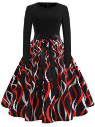 Bowknot Belted Printed A Line Dress -