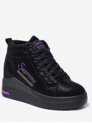 Hidden Wedge Embroidery Mid Top Sneakers -