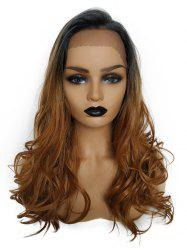 Synthetic Long Side Bang Colormix Wavy Lace Front Wig -