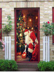 Father Christmas Gift Pattern Door Art Stickers -
