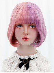 Short Full Bang Two Tone Straight Bob Lolita Wig with Two Ponytails -