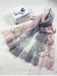 Elegant Floral Embroidery Long Scarf -
