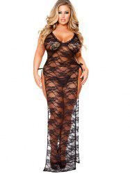 See Through Plus Size Lingerie Lace Dress -