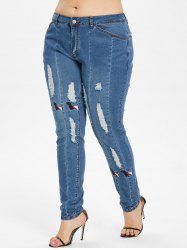 Dog Embroidery Plus Size Ripped Jeans -