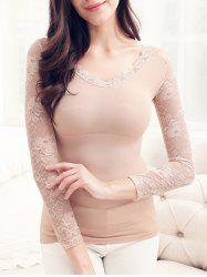 Lace Insert Thermal Body Shaping Underwear Top -