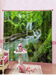 2PCS Water Landscape Printed Window Curtains -
