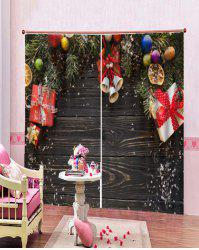 2PCS Christmas Gift Wooden Printed Window Curtains -
