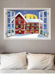 3D Window Christmas Snow Pattern Removable Wall Sticker -