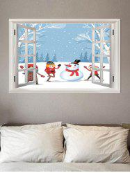 3D Window Snowman Christmas Pattern Removable Wall Sticker -