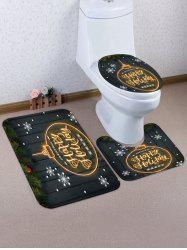 Christmas Snowflake Wooden 3 Pcs Bathroom Toilet Mat -
