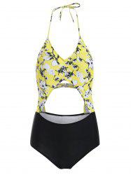 Halter Backless Cut Out Floral Print Swimwear -