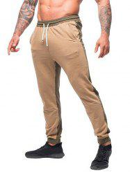 Contrast Color Drawstring Long Jogger Pants -