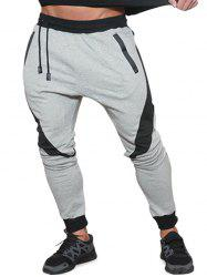 Long Drawstring Elastic Patchwork Jogger Pants -