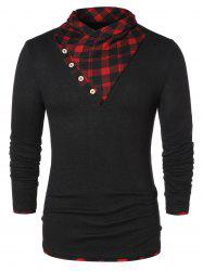 Button Shawl Collar Checked Panel T-shirt -