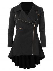 Plus Size Zipper Embellished High Low Coat -