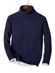 Solid Turtleneck Cable Knit Sweater -