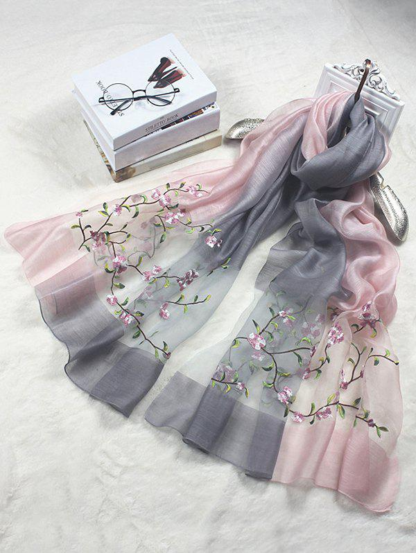 Discount Elegant Floral Embroidery Long Scarf