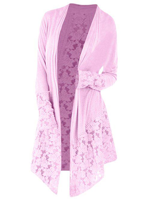 Buy Collarless Plus Size Lace Panel Cardigan