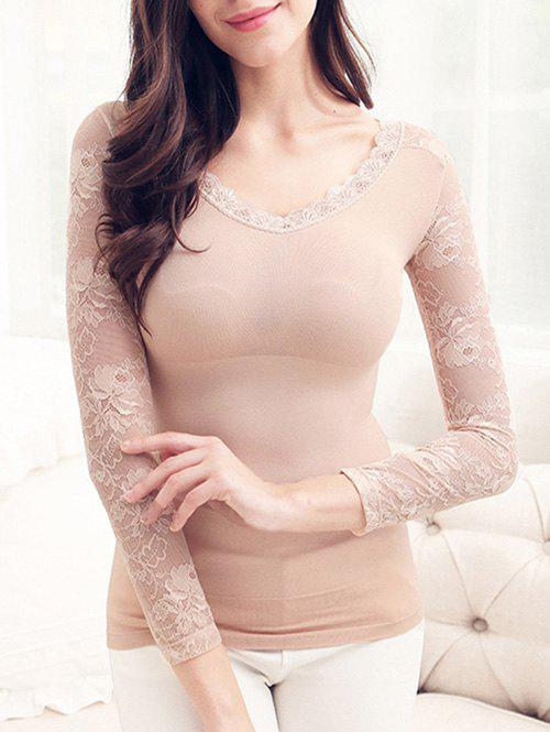 Shop Lace Insert Thermal Body Shaping Underwear Top