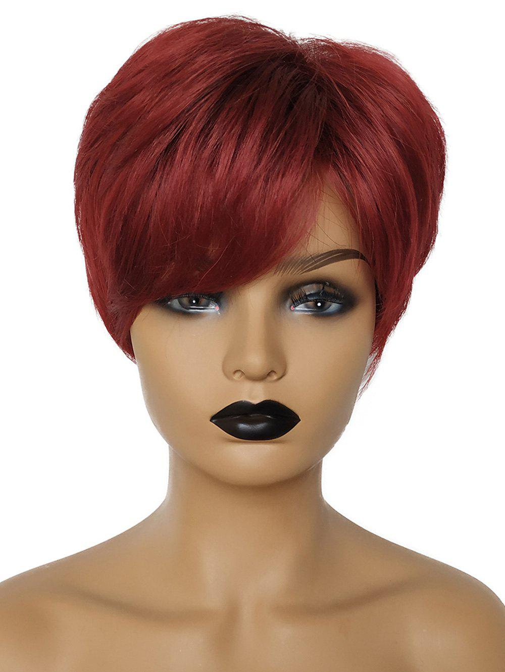 Discount Short Side Fringe Straight Party Human Hair Wig