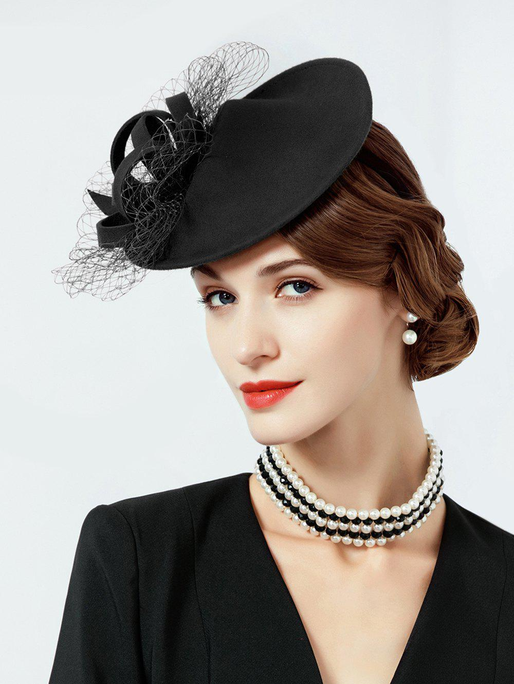 Fancy British Style Mesh Solid Color Beret