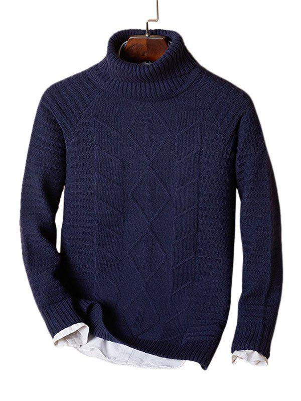 Shop Solid Turtleneck Cable Knit Sweater