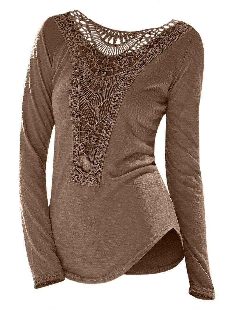 Affordable Casual Scoop Neck Hollow Out Crochet Spliced Solid Color T-Shirt For Women