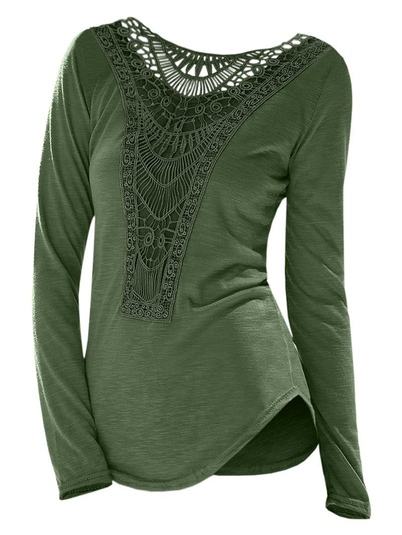 c45c1ec2a9f3 Casual Scoop Neck Hollow Out Crochet Spliced Solid Color T-Shirt For Women  - M