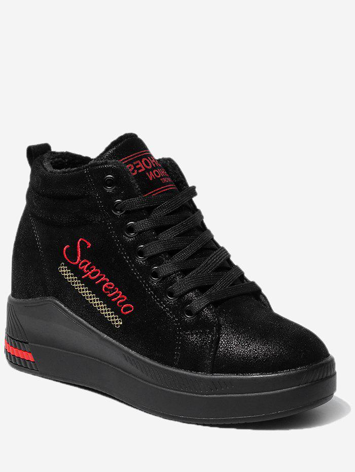 Cheap Hidden Wedge Embroidery Mid Top Sneakers