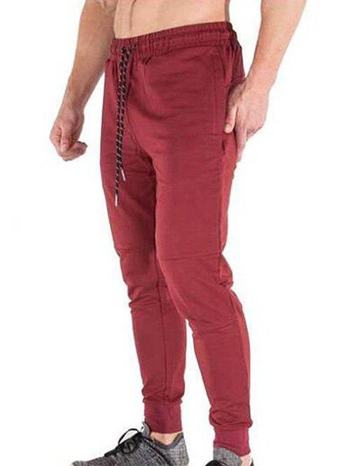 Discount Solid Color Casual Drawstring Jogger Pants