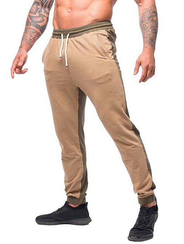 Affordable Contrast Color Drawstring Long Jogger Pants