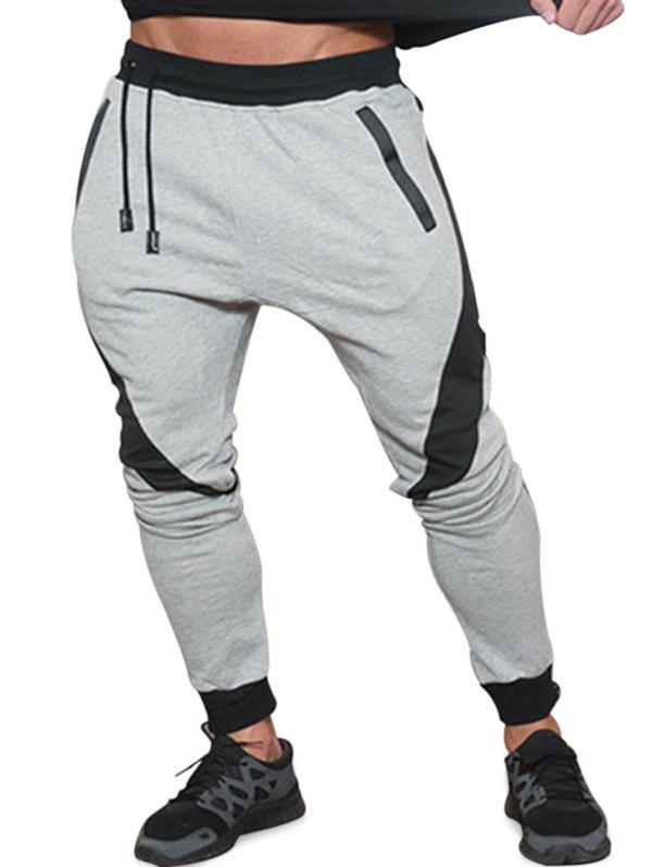 Shop Long Drawstring Elastic Patchwork Jogger Pants