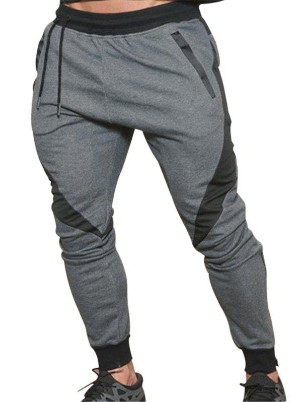 Shops Long Drawstring Elastic Patchwork Jogger Pants