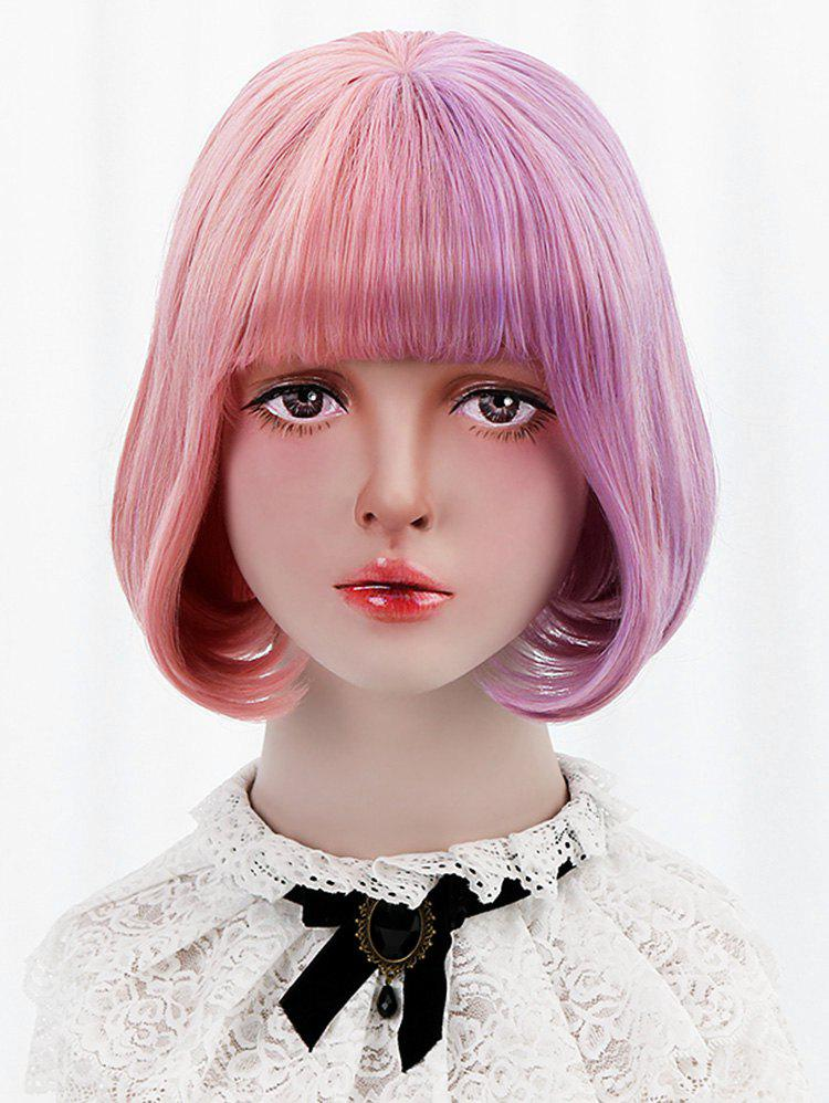Latest Short Full Bang Two Tone Straight Bob Lolita Wig with Two Ponytails