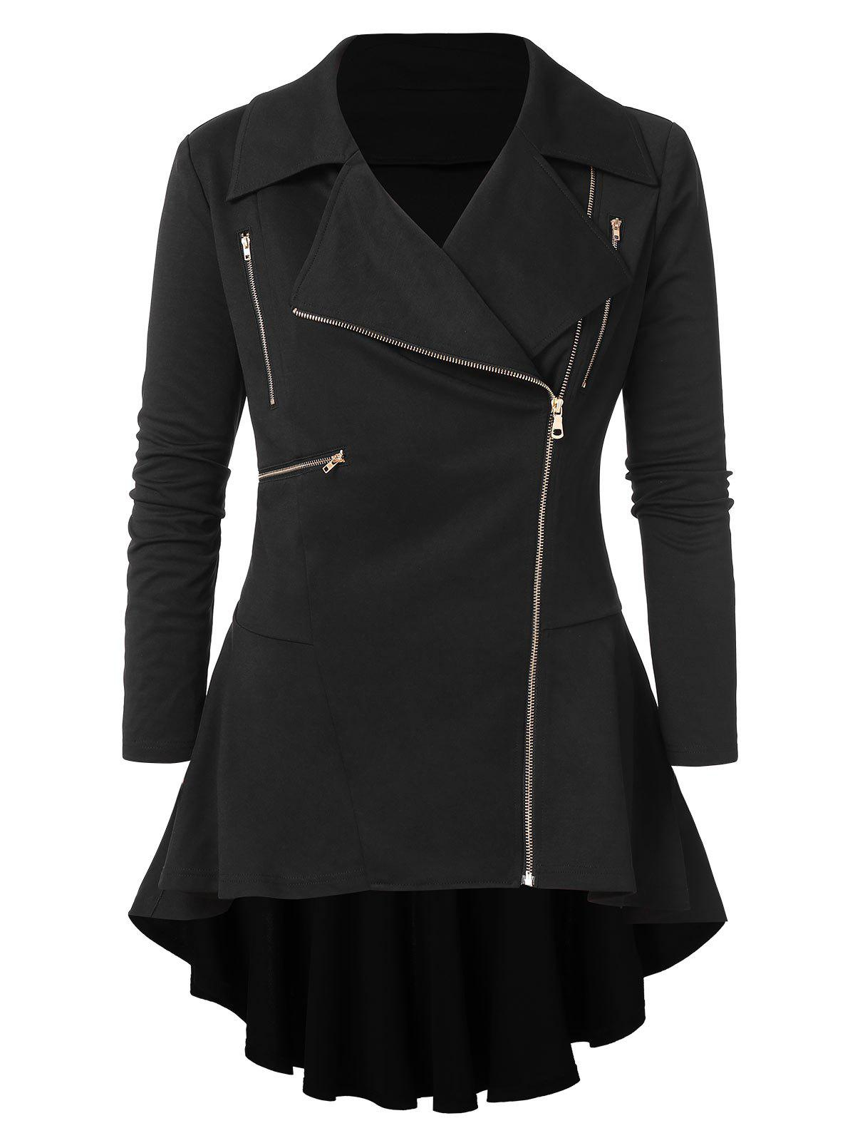 Store Plus Size Zipper Embellished High Low Coat