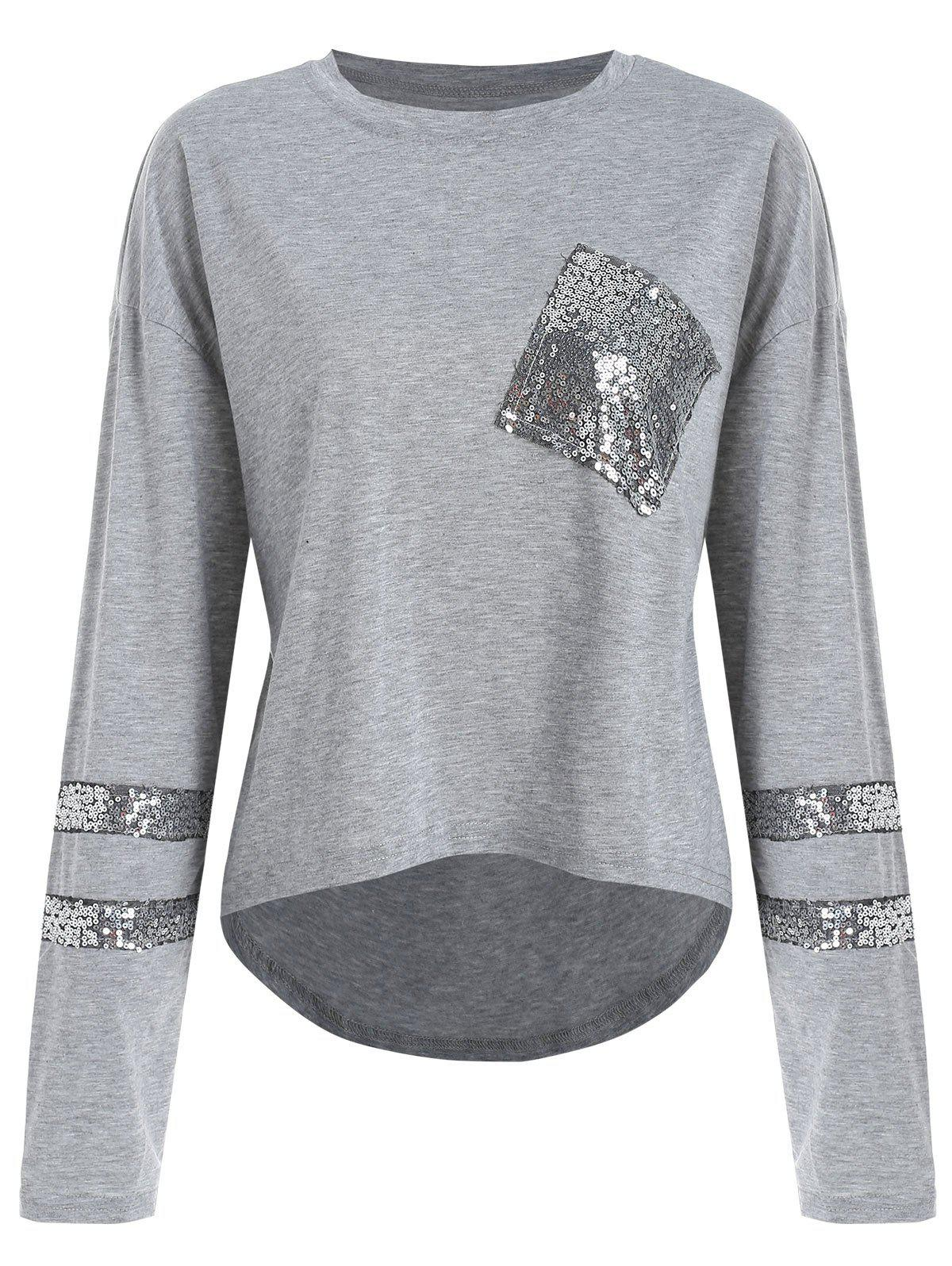 Cheap Sequins High Low Sweatshirt