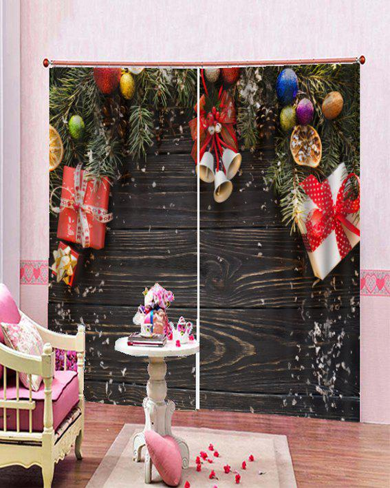 Unique 2PCS Christmas Gift Wooden Printed Window Curtains
