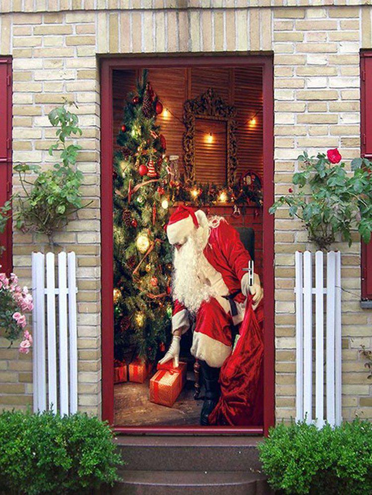 Affordable Father Christmas Gift Pattern Door Art Stickers