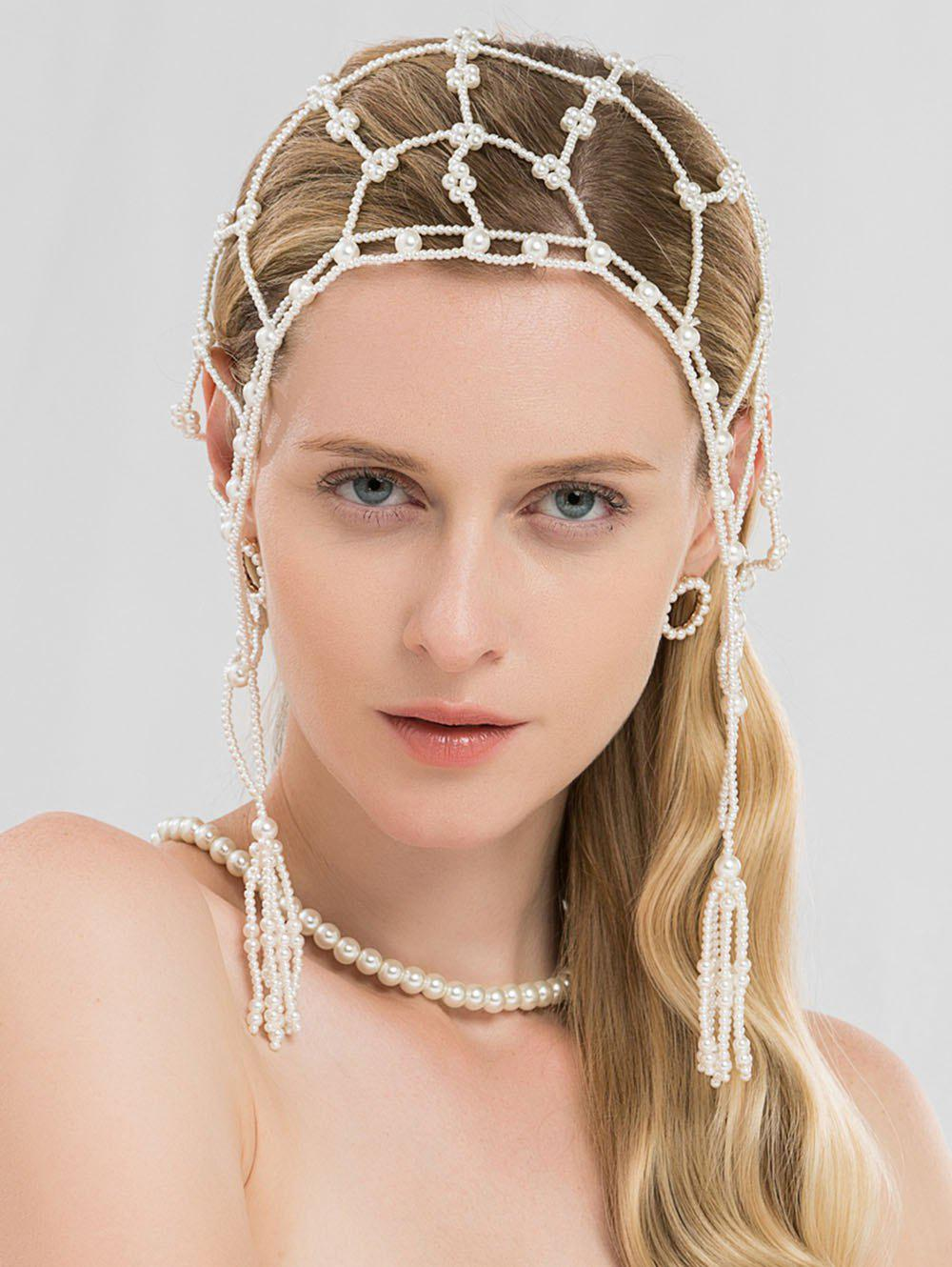 Online Shining Pearls Network Hair Accessories