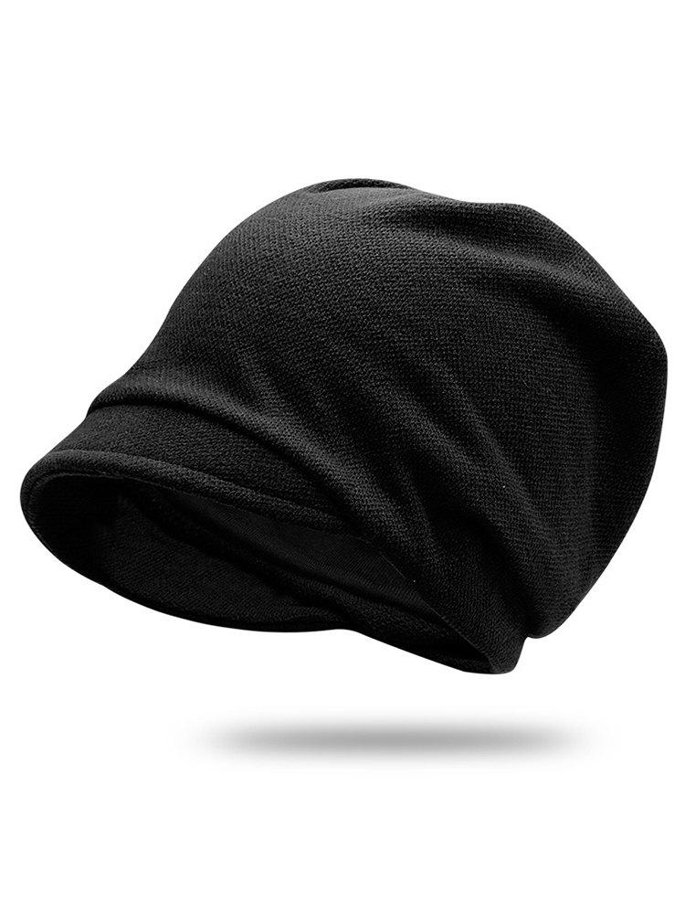 Fashion Solid Color Billed Slouchy Beanie