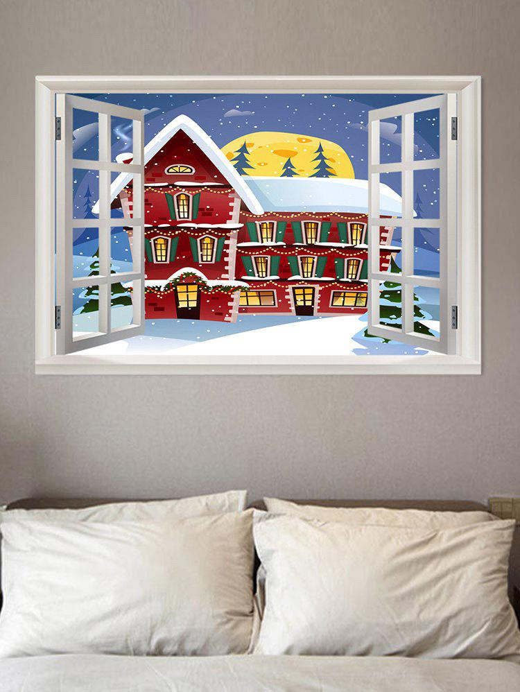 Trendy 3D Window Christmas Snow Pattern Removable Wall Sticker