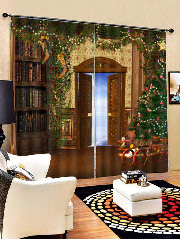 Outfits 2PCS Christmas Tree Door Printed Window Curtains