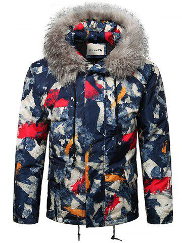 Paint Splatter Fur Hooded Drawstring Design Padded Jacket