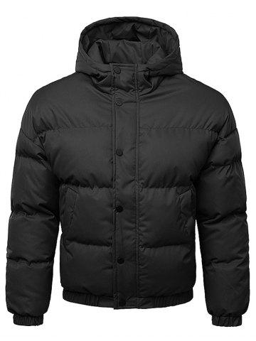 Button Up Warmth Hooded Down Jacket